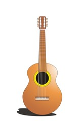 acoustic guitar classic with brown color cartoon and symbol for music theme design