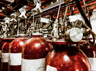 Large CO fire extinguishers in industrial interior