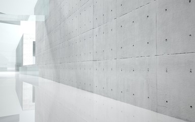Abstract background of interior concrete and glass
