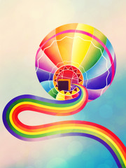 Air balloon with rainbow