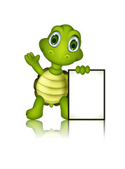 cute green turtle cartoon with blank sign