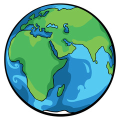 vector cartoon globe