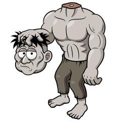 Vector of illustration of Cartoon zombie headless