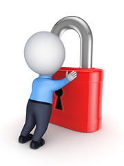 3d person and red lock.