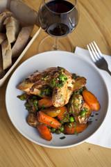 Poulet, légumes, volaille, carottes, pommes de terre, vin