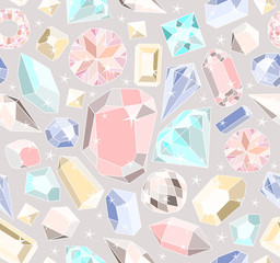 Seamless pastel diamonds pattern. Background with colorful gemst