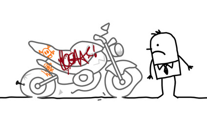 Wall Mural - motorcycle vandalized