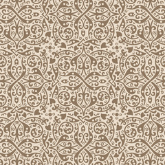 Vintage background vector. Old style seamless floral pattern.
