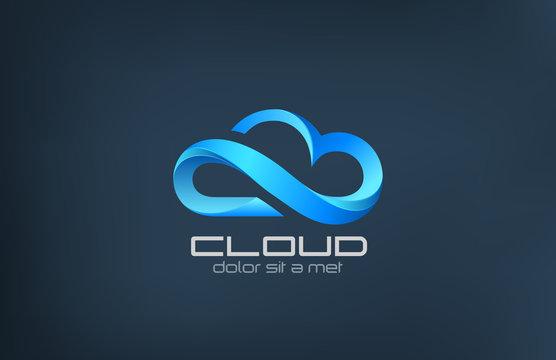 Cloud computing icon vector logo design template.