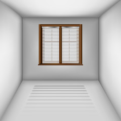Empty room with window and blinds