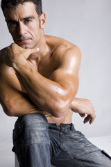 healthy handsome fit man with attractive muscles