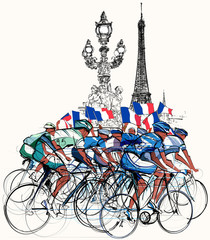 Wall Mural - Paris - cyclists in competition