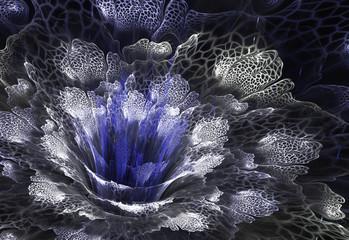 Wall Mural - Blue futuristic flower