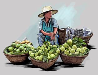 Fruit street vendor in Bangkok Thailand