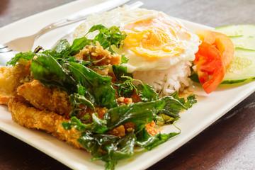 Fried chicken stir crispy basil with fried egg