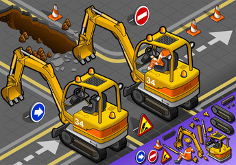 Isometric Mini Excavator with Man at Work in Rear View