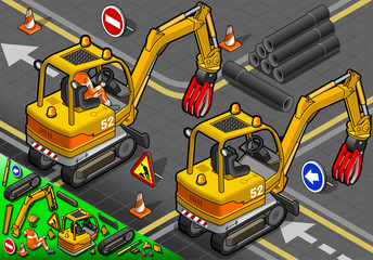 Isometric Mini Mechanical Arm Excavator in Rear View