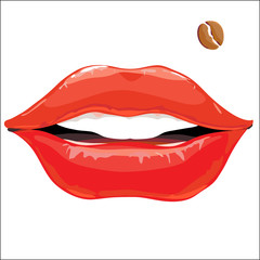 lips with coffee bean