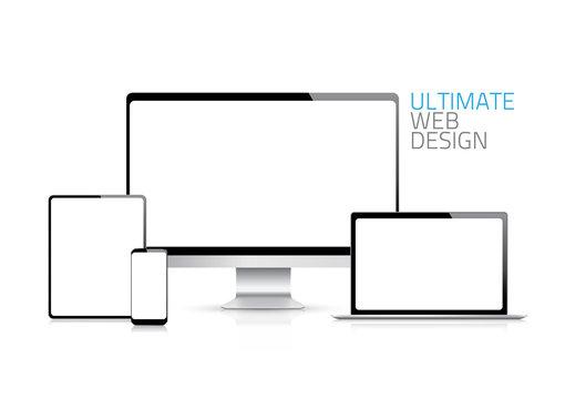 Computer, laptop, tablet, phone displays vector eps10