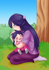 Cartoon illustration of a mother embracing her crying child