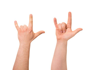 Sign of horns hand gesture isolated