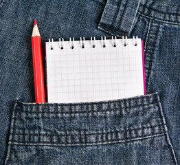 Notebook and pencil in jeans pocket