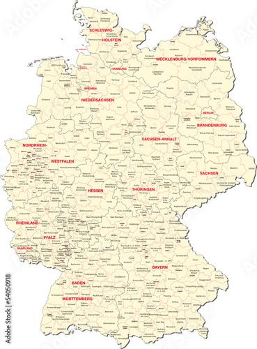 Wall mural Deutschland, Bundesländer, Landkreise, kreisfreie Städte