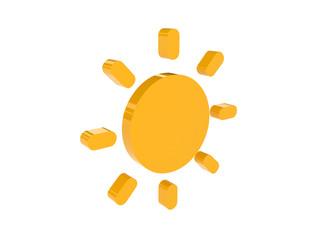Sun icon over white background. Concept 3D illustration.