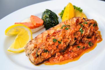 Thai food - Salmon fillet with panang curry sauce