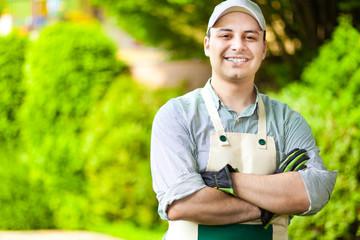 Handsome gardener smiling
