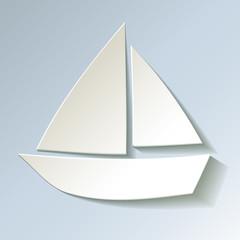 Segelboot Papier Weiss kalt