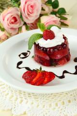 Tasty jelly dessert with fresh berries,