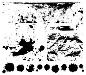 Black spots. (splash, blob, blot, blotch). Scratched texture