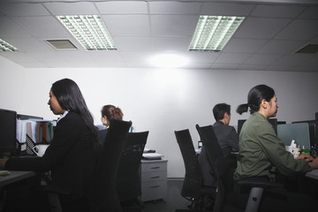 White-collar workers working in office