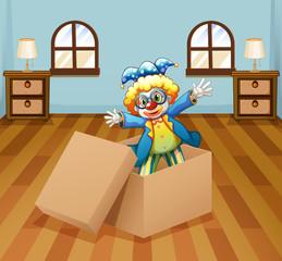 A clown inside the box