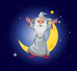 A wizard floating near the moon
