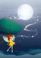A night fairy with a yellow dress