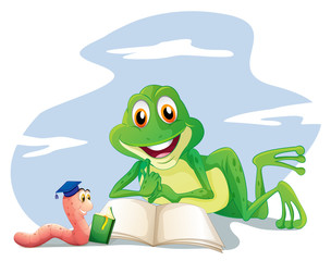 An earthworm and a frog reading