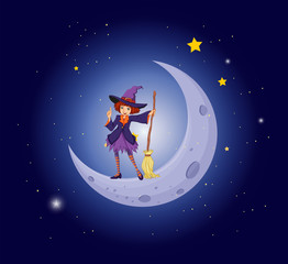 A pretty witch near the moon