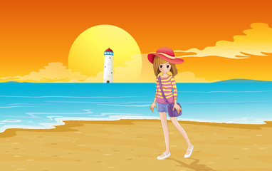 A fashionable young girl at the beach