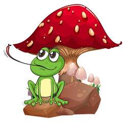 A frog catching a fly near the giant mushroom
