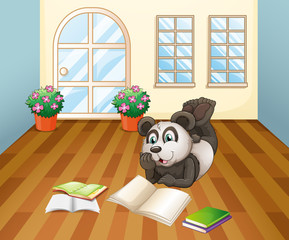 A panda reading inside the house