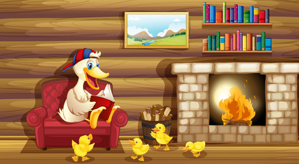 A duck and her ducklings near the fireplace