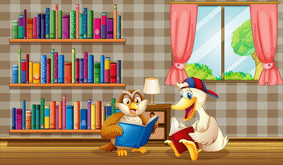 An owl and a duck reading inside the house