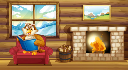 An owl reading a book beside a fireplace