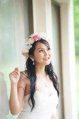 Beautiful Asian lady in white bride dress