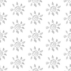 Seamless flower background. Black and white.