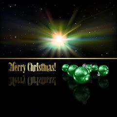 Abstract Christmas greeting with decorations and stars
