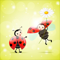 Spoed Fotobehang Lieveheersbeestjes two ladybugs with a daisy
