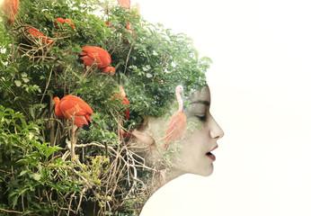 Woman with flamingo hair